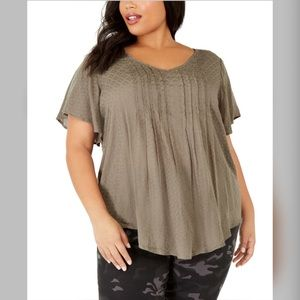 1X 4X Style & Co Olive Pintuck Flutter Sleeve Top